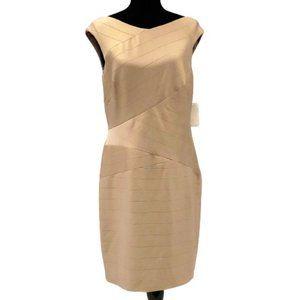Kay Unger Gold Metallic Sheath Dress